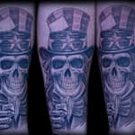 Chris DeLauder Tattoo Artist black and grey uncle sam skull