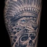 Chris DeLauder Tattoo Artist black and grey skull headdress