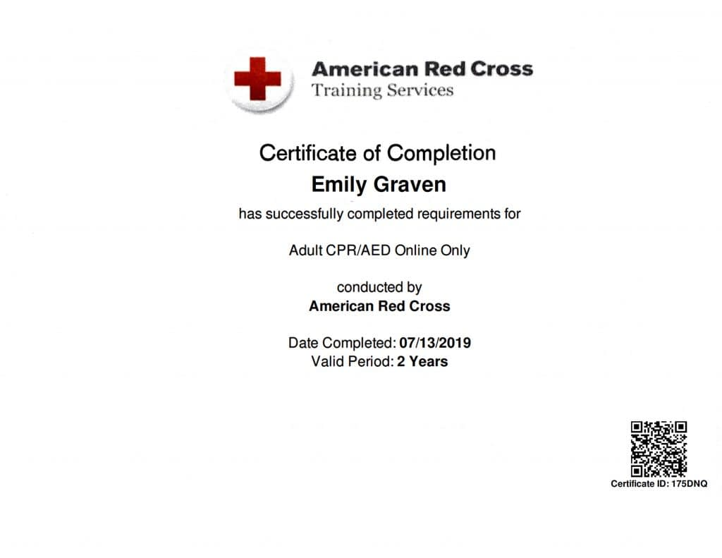 TATTOO MAFIA, INC. Emily Graven American Red Cross CPR/AED 2019
