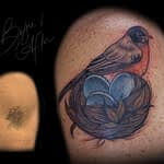 Emily Graven Tattoo Artist color robin cover up