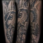 Chris DeLauder Tattoo Artist black and grey owl and clock
