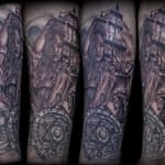 Lisa DeLauder Tattoo Artist black and grey Pirate Ship