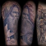 Chris DeLauder Tattoo Artist black and grey father time