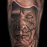 Lisa DeLauder Tattoo Artist black and grey frankenstein
