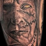 Lisa DeLauder Tattoo Artist black and grey frankenstein closeup