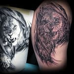 Lisa DeLauder Tattoo Artist black and grey lion