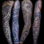 Ian Tadashi Tattoo Artist black and grey polynesian sleeve