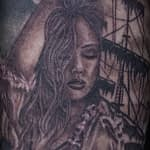 Lisa DeLauder Tattoo Artist black and grey Pirate Ship 2
