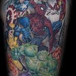 Ian Tadashi Tattoo Artist color super hero half sleeve