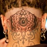 Chris DeLauder Tattoo Artist black and grey eye back of head 3