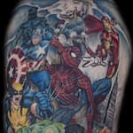 Ian Tadashi Tattoo Artist color super hero half sleeve 2