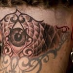Chris DeLauder Tattoo Artist black and grey eye back of head