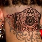 Chris DeLauder Tattoo Artist black and grey eye back of head 2