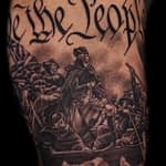 Chris DeLauder Tattoo Artist black and grey goerge washington crossing delaware