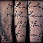 Ian Tadashi Tattoo Artist black and grey quote half sleeve