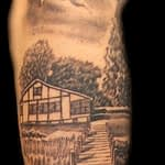 Chris DeLauder Tattoo Artist black and grey family dock in memory 2