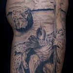 Ian Tadashi Tattoo Artist black and grey spartan warrior