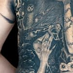 Chris DeLauder Tattoo Artist black and grey left back